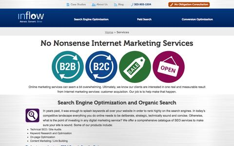 Screenshot of Services Page goinflow.com - Inflow Provides Full-Service Internet Marketing Services - captured Sept. 23, 2014