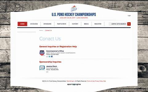 Screenshot of Contact Page uspondhockey.com - Conact Us - captured Dec. 1, 2016