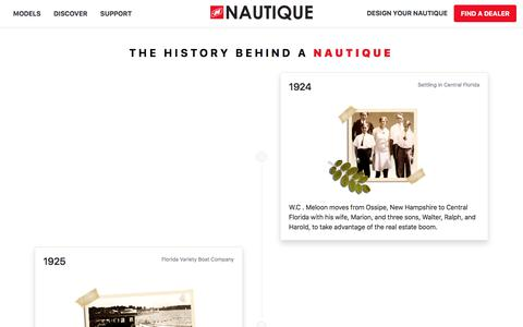 Screenshot of About Page nautique.com - Nautique Wake Boats, Ski Boats, Water Skiing, Wake Surfing and Wakeboarding Boats by Correct Craft - captured Sept. 16, 2019