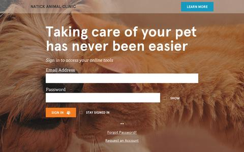 Screenshot of Login Page vetsecure.com - Natick Animal Clinic - captured March 10, 2016