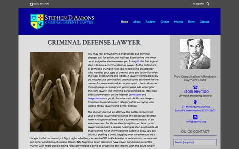 Screenshot of Home Page aarons.org - Criminal Defense Lawyer Stephen D Aarons | New Mexico - captured Oct. 7, 2017