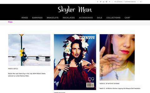 Screenshot of Press Page skylerman.com - Press | Skyler Man Jewelry - captured Oct. 9, 2014