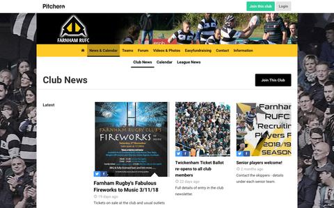Screenshot of Press Page farnhamrugby.org - News - Farnham R.U.F.C. - captured Oct. 10, 2018