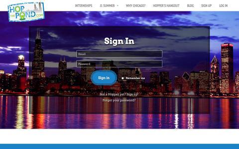 Screenshot of Login Page hopthepond.com - Hop The Pond - captured Sept. 30, 2014