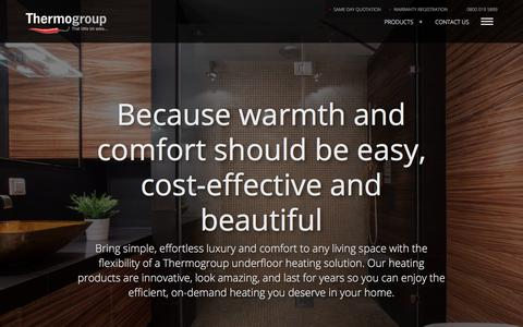 Screenshot of Home Page thermogroupuk.com - Electric Underfloor Heating Systems   Thermogroup UK - captured Sept. 21, 2018