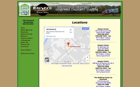Screenshot of Locations Page haywoodbuilders.com - Locations - Haywood Builders Supply - captured July 5, 2017