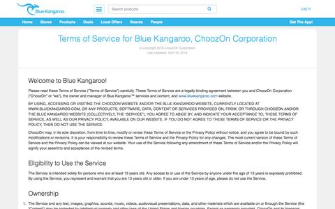 Screenshot of Terms Page bluekangaroo.com - Terms | Blue Kangaroo - Your Smart Personal Shopper | Deals, Coupons, and Social Shopping - captured March 29, 2016