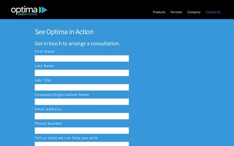 Screenshot of Contact Page optimaenergy.net - Contact Us – Optima Energy Systems - captured Dec. 3, 2016