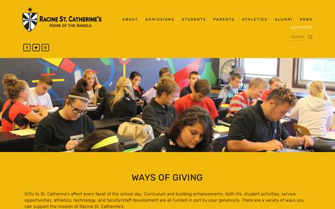 Screenshot of Support Page saintcats.org - Ways of Giving — Racine St. Catherine's - captured Dec. 21, 2018