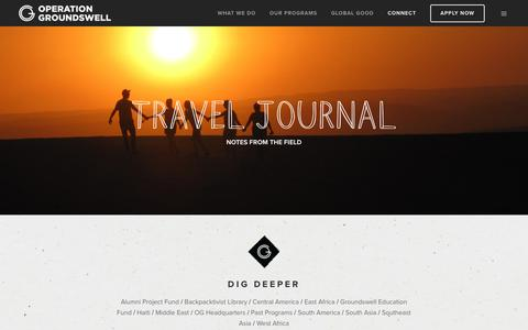 Screenshot of Blog operationgroundswell.com - Operation Groundwell Travel Journal: From The Field - captured Nov. 7, 2019