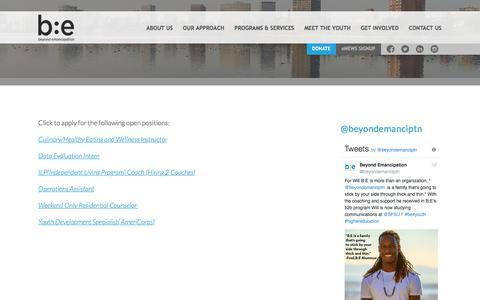 Screenshot of Jobs Page beyondemancipation.org - Jobs | Beyond Emancipation - captured Aug. 2, 2018