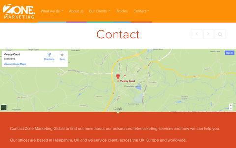 Screenshot of Contact Page zonemarketing.co.uk - Contact - B2B & Outsourced Telemarketing Company | Zone Marketing Global Ltd - captured Sept. 30, 2014