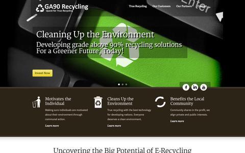 Screenshot of Home Page ga90recycling.com - GA90Recycling  GA90 Recycling - captured Oct. 1, 2014