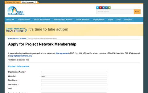 Screenshot of Signup Page globalmethane.org - Apply for Project Network Membership | Global Methane Initiative - captured Sept. 28, 2018