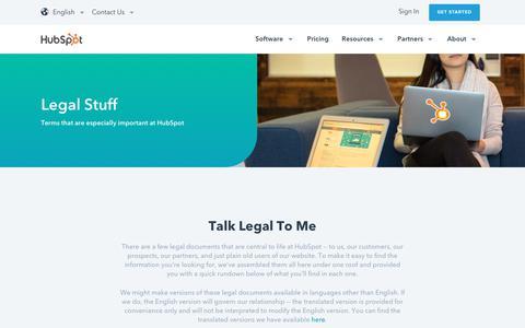 Screenshot of Terms Page hubspot.com - HubSpot Legal Stuff - captured Oct. 31, 2017