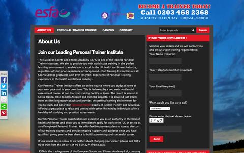 Screenshot of About Page esf-academy.com - About Our Online Personal Trainer Institute: ESFA | European Sports & Fitness Academy (ESFA) - Personal Trainer Certification - captured Oct. 3, 2014
