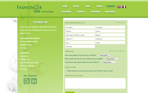 Screenshot of Contact Page fashionizerspauniforms.com captured Oct. 5, 2014