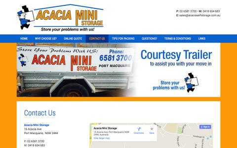 Screenshot of Contact Page acaciaselfstorage.com.au - Contact us l Ph 02 6581 3700 | Acacia Self Storage - captured Feb. 5, 2016