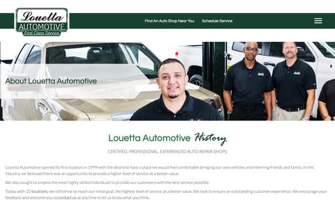 Screenshot of About Page louettaautomotive.com - Auto Repair Shop Texas, About Louetta Automotive - captured Nov. 5, 2018