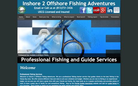Screenshot of Home Page inshore2offshore.com - Tampa Bay inshore fishing guide - captured Oct. 6, 2014