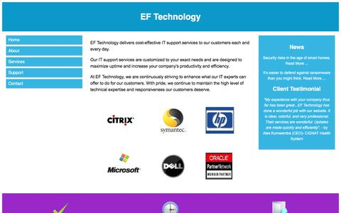 Screenshot of Support Page eftechnology.com - EF Technology - Support - captured May 12, 2017