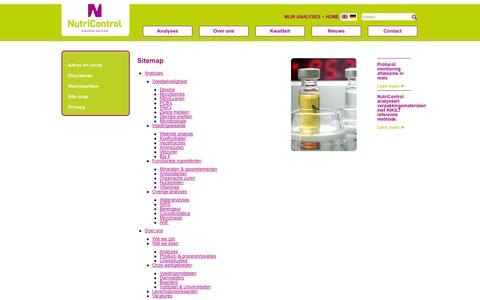 Screenshot of Site Map Page nutricontrol.nl - Site map > Common > NL > NutriControl - captured Oct. 1, 2014
