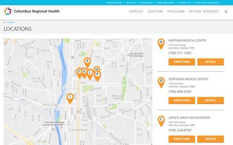 Screenshot of Locations Page columbusregional.com - Locations | Columbus Regional Health - captured Nov. 9, 2016