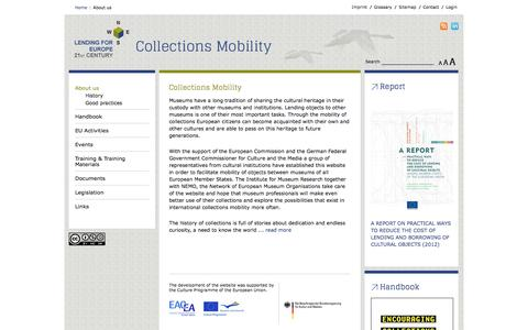 Screenshot of Home Page lending-for-europe.eu - Lending for Europe - Collections Mobility - About us - captured June 17, 2016
