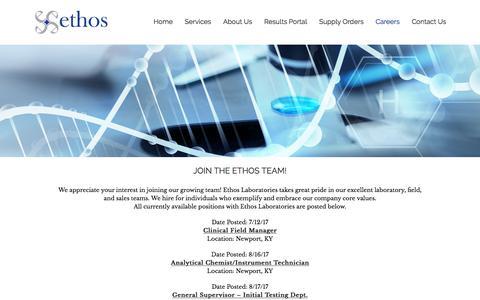 Screenshot of Jobs Page ethos-labs.com - Careers – Ethos Labs - captured Aug. 26, 2017