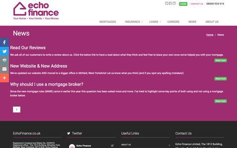 Screenshot of Press Page echofinance.co.uk - Echo Finance News Section - captured Nov. 10, 2018