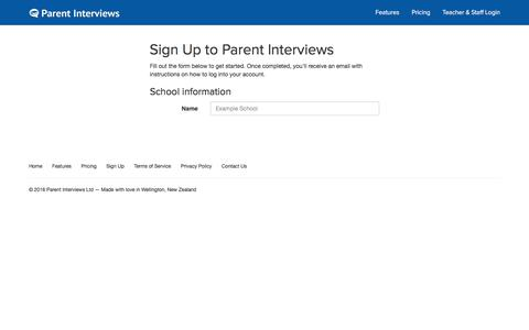 Screenshot of Signup Page parentinterviews.co.nz - Sign Up - Parent Interviews - Event management made easy for schools - captured Jan. 25, 2016