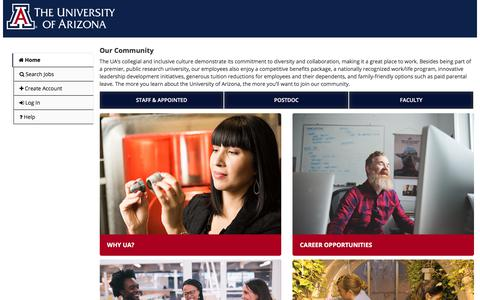 Screenshot of Home Page Jobs Page uacareers.com - University of Arizona Portal | Home - captured April 23, 2018