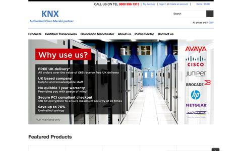 Screenshot of Home Page knxuk.co.uk - Meraki Solutions Provider: Switches, Access Points and Security Appliances | KNX UK - captured Oct. 16, 2017