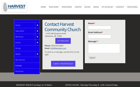 Screenshot of Contact Page harvestcc.org - Harvest Community Church / Contact us - captured July 19, 2017