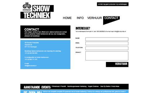 Screenshot of Contact Page db-sounds.nl - Neem contact op met DB Sounds - captured Sept. 30, 2014