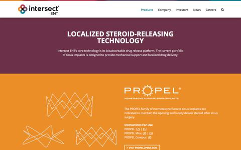 Screenshot of Products Page intersectent.com - Localized Steroid-Releasing Sinus Implant | Intersect ENT - captured Sept. 19, 2019