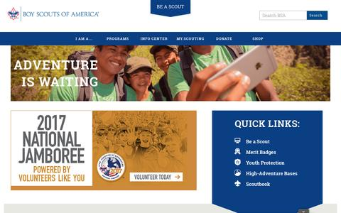 Screenshot of Home Page scouting.org - Boy Scouts of America | Prepared. For Life.® - captured April 7, 2017