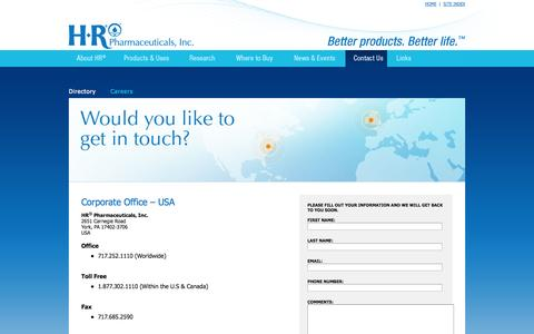 Screenshot of Contact Page hrpharma.com - HR® Pharmaceuticals, Inc. – Contact Us - captured Oct. 1, 2014