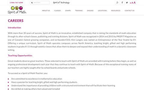 Screenshot of Jobs Page spiritofmath.com - Careers | Spirit of Math Schools - captured Nov. 16, 2018