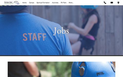 Screenshot of Jobs Page goldenbellccc.org - Jobs | Divide, CO | Golden Bell Camp & Conference Center - captured Sept. 24, 2018