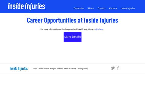 Screenshot of Jobs Page insideinjuries.com - Career Opportunities at Inside Injuries | - captured June 7, 2017