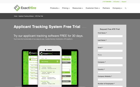 Screenshot of Trial Page exacthire.com - Applicant Tracking System Free Trial | ExactHire - captured July 23, 2018