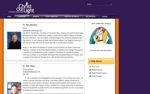 Screenshot of Team Page christourlight.net - Parish Staff - captured Oct. 27, 2016