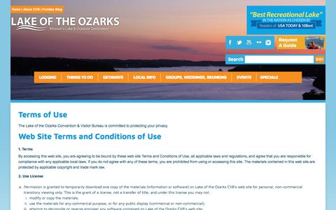 Screenshot of Terms Page funlake.com - Lake of the Ozarks - Terms of Use - captured Sept. 26, 2018