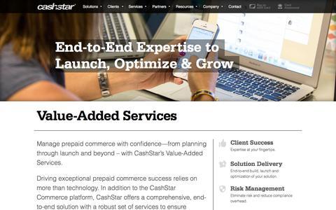 Screenshot of Services Page cashstar.com - Value-Added Services - CashStar - captured Dec. 3, 2015