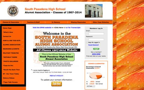 Screenshot of Home Page sphsaa.org - South Pasadena High School Alumni Association - Classes of 1907-2014, South Pasadena, CA - captured Sept. 24, 2014