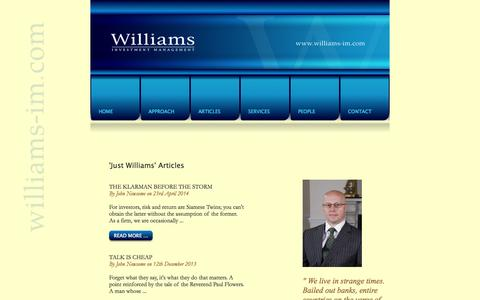Screenshot of Menu Page williams-im.com - Williams Investment Management, 34 Victoria Avenue, Harrogate, North Yorkshire. - captured Nov. 5, 2014