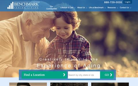 Screenshot of Home Page benchmarkseniorliving.com - Benchmark Senior Living Senior Living Facilities - captured Dec. 31, 2015