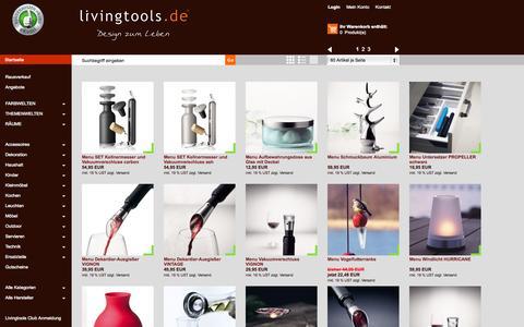 Screenshot of Menu Page livingtools.de - Menu - www.Livingtools.de - Design zum Leben - modernes Wohnen und Designklassiker - captured Sept. 30, 2014