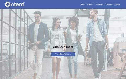 Screenshot of Jobs Page ntent.com - Careers - NTENT - captured Sept. 22, 2018